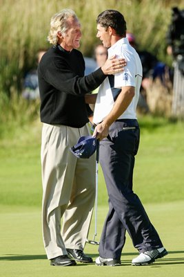 2008 Greg Norman congratulates Padraig Harrington
