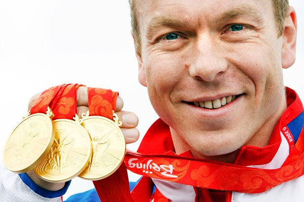 Chris Hoy with 3 Olympic Golds