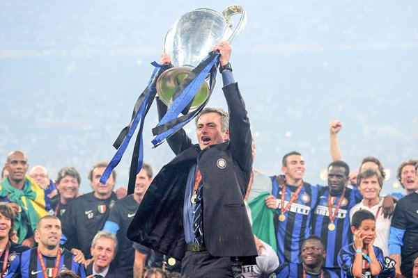 Mourinho holds his second Champions League trophy