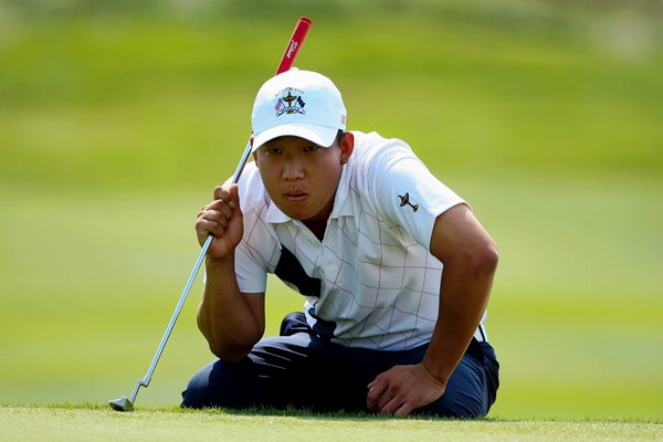 Anthony Kim stares down a putt 2008 Ryder Cup