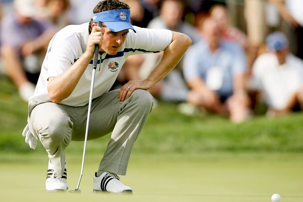 Justin Rose lines up a putt 2008 Ryder Cup
