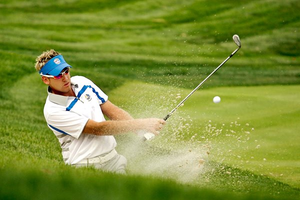 Ian Poulter splashes from sand 2008 Ryder Cup