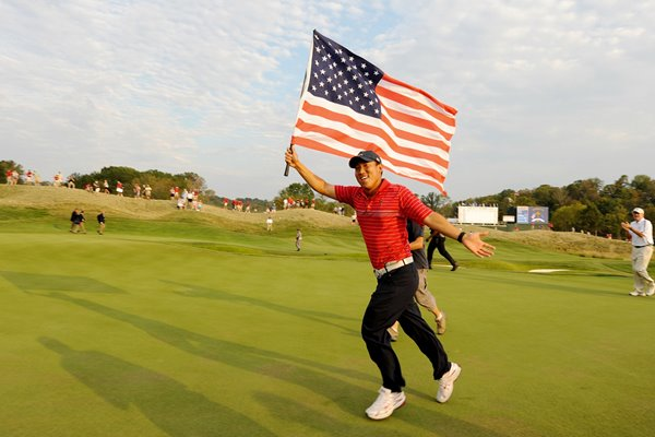 Anthony Kim of the USA celebrates 2008 Ryder Cup win