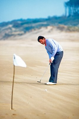 Seve Ballesteros on the beach at Pedrena, Spain 1996