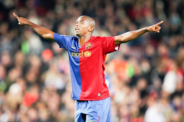 Samuel Eto'o celebrates for FC Barcelona 2008