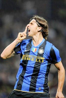 Zlatan Ibrahimovic of Inter celebrates a goal