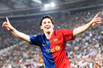 Messi celebrates scoring v Man United Prints