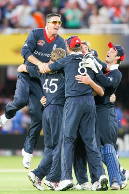 England team mates celebrate victory