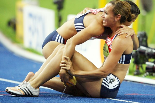 Jessica Ennis and Louise Hazel celebrate