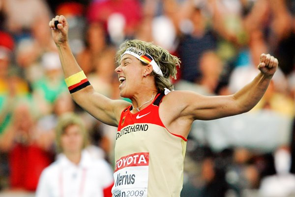 Steffi Nerius celebrates Javelin gold in Berlin