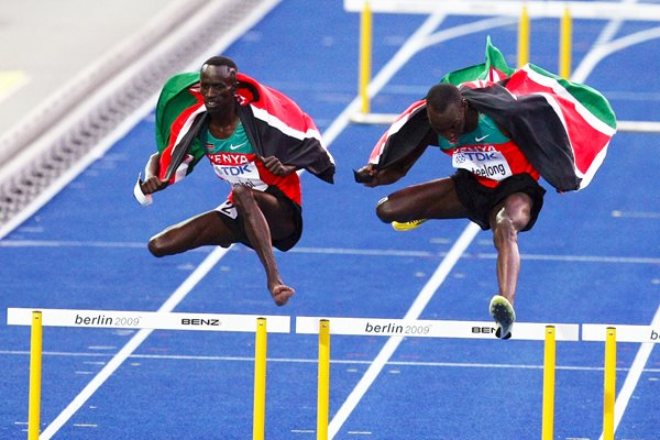 Kemboi and Kipkemboi of Kenya celebrate