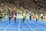Usain Bolt drives for home in 200m Final Prints