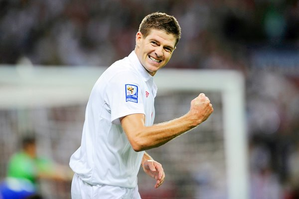 Gerrard celebrates scoring his second v Croatia