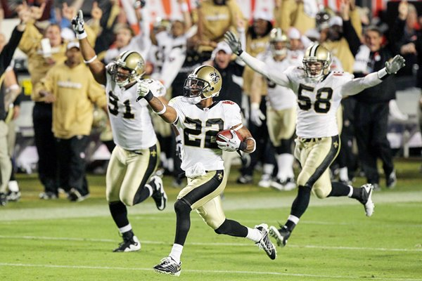 Tracy Porter and New Orleans celebrate Touchdown