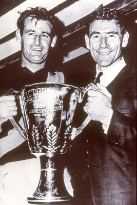 Tom Hafey & Fred Swif with Premiership Trophy 1964
