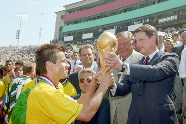 Dunga receives the trophy from Al Gore 1994 World Cup