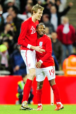 Little and Large celebrate at Wembley v Egypt