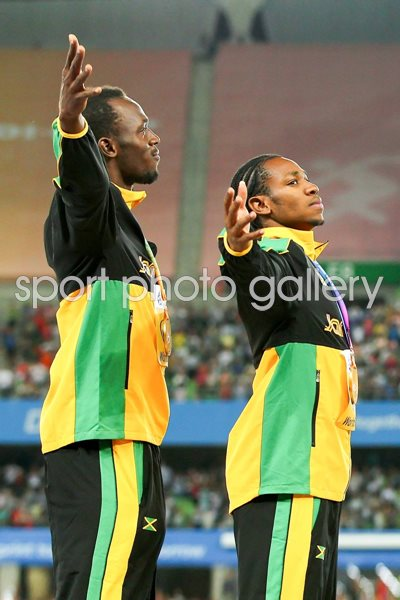 Bolt and Blake Podium World Championships Daegu 2011