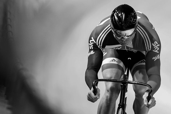 Sir Chris Hoy Classic Action Portrait 2010 - BW