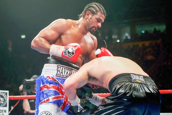 David Haye on top of John Ruiz in Manchester