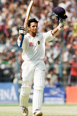 Rahul Dravid of India reaches 100