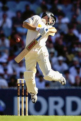 Steve Waugh avoids a bouncer