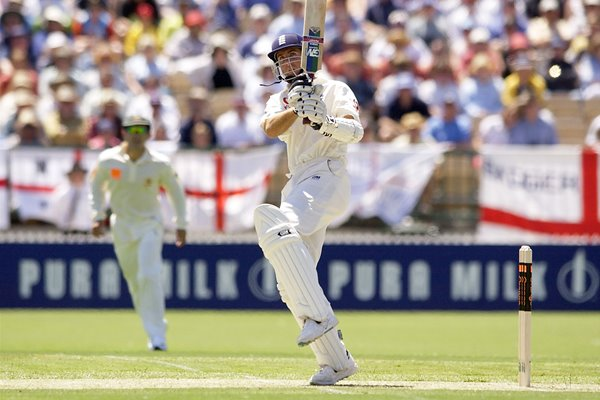 Michael Vaughan hits a six