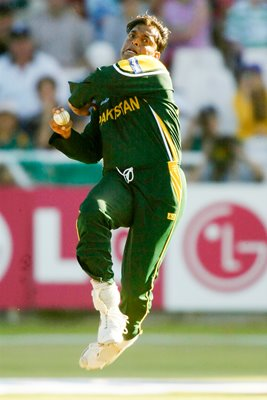 Shoaib Akhtar of Pakistan in action