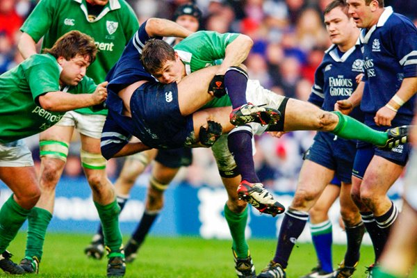 Brian O'Driscoll upends Andy Craig