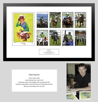 Tony McCoy Signed Caricature Montage - £245