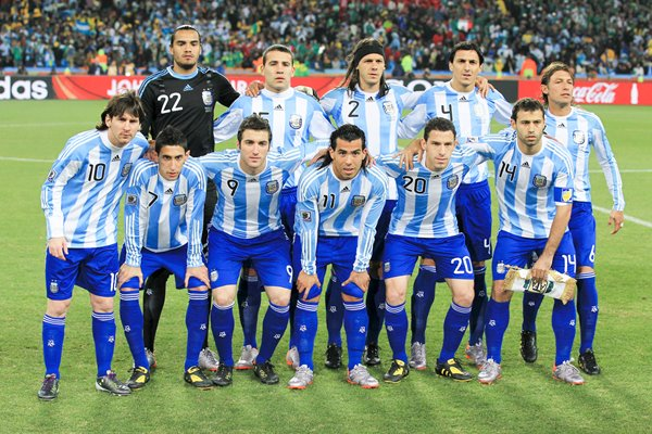 Argentina line up v Mexico in Last 16