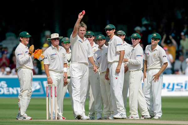 Glenn McGrath and team mates