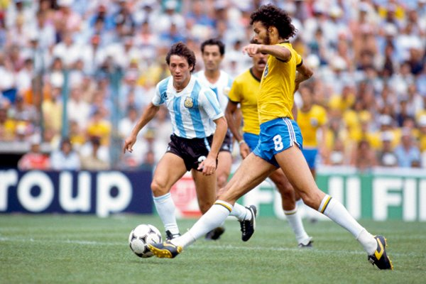 Socrates of Brazil v Argentina World Cup 1982