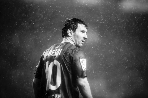Leo Messi of Barcelona portrait in rain