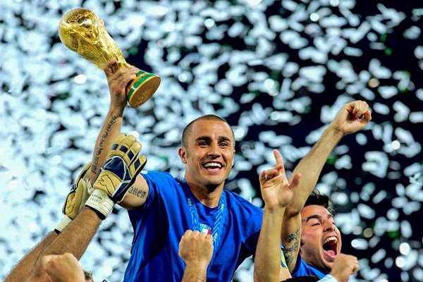 Fabio Cannavaro of Italy lifts the World Cup