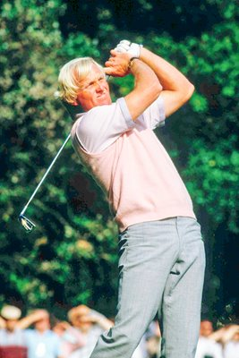 Greg Norman of Australia in action