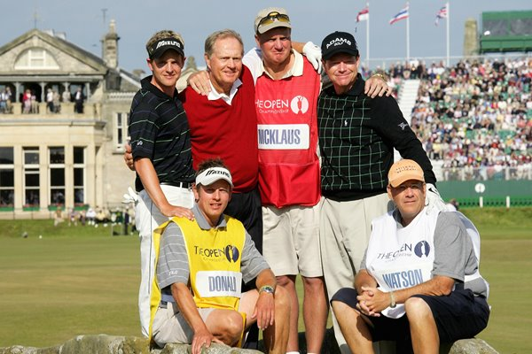 Players and Caddies with Jack