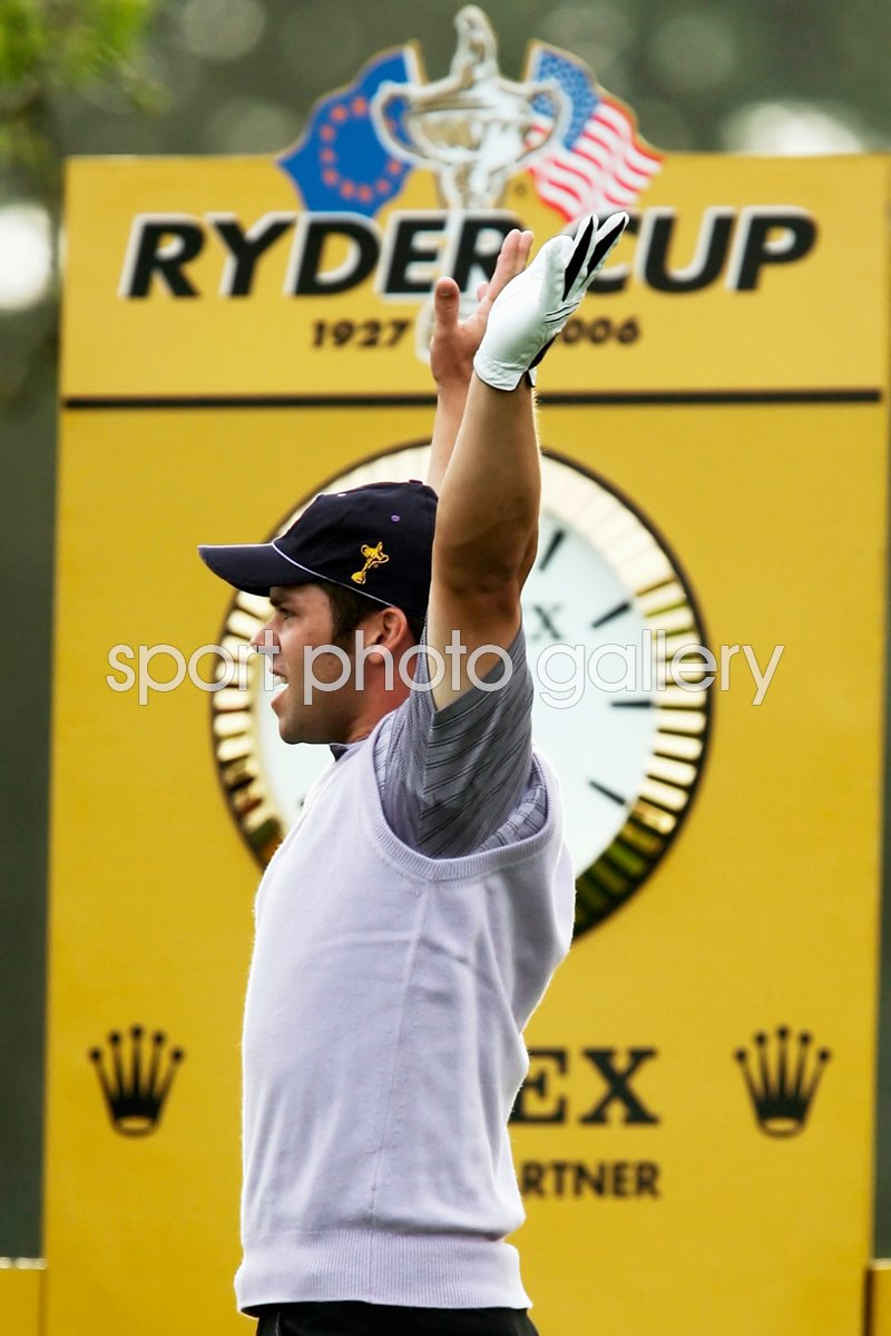 Paul Casey celebrates hole in one