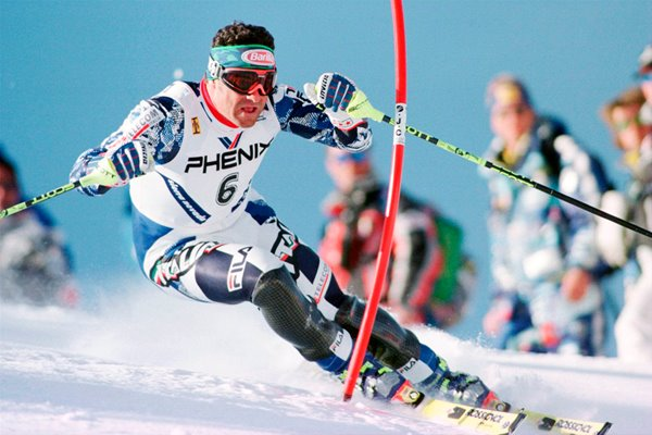 Alberto Tomba of Italy in action