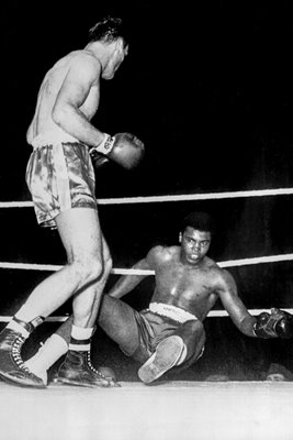 Henry Cooper knocks down Cassius Clay