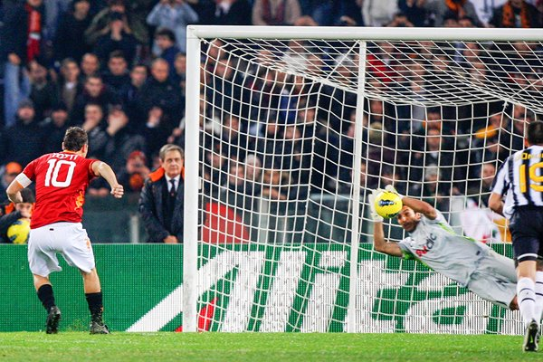 Gianluigi Buffon of Juventus saves a penalty kick