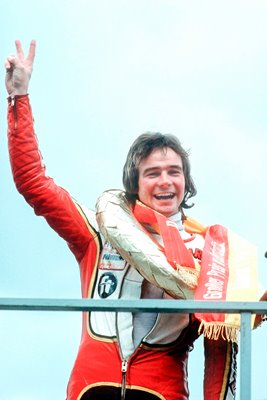 Barry Sheene celebrates