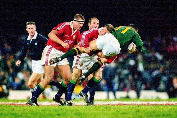 Scott Gibbs British Lions tackles Andre Snyman South Africa 1997