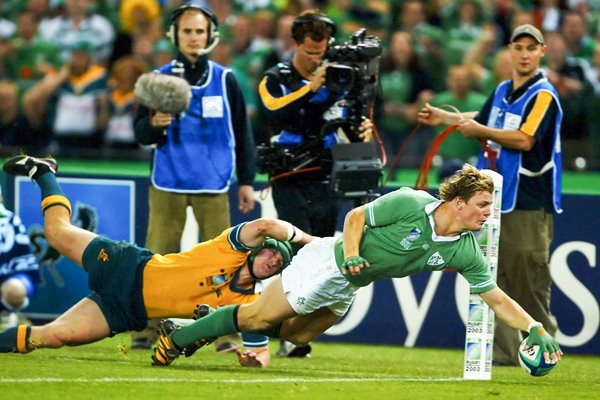 Brian O'Driscoll of Ireland scores a try