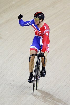 Chris Hoy Celebrates Track Cycling World Cup 2012
