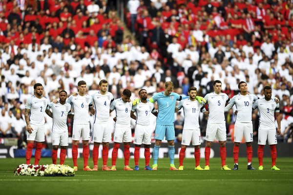 England line up v Lithuania March 2017