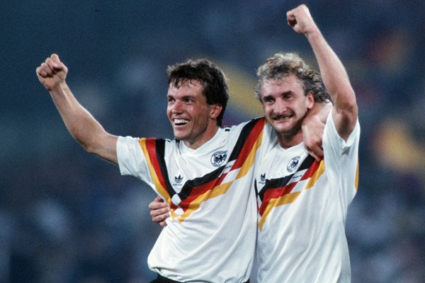 Lothar Matthaeus & Rudi Voeller Germany World Cup 1990
