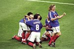 Zinedine Zidane France scores v Brazil World Cup Final 1998 Prints