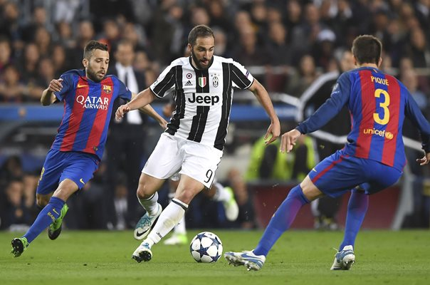 Gonzalo Higuain of Juventus v Barcelona Champions League 2017