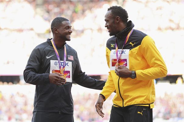 Justin Gatlin & Usain Bolt World Athletics London 2017